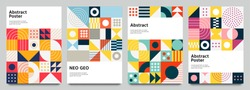 Color neo geo poster. Modern grid flyer with geometric shapes, geometry graphics and abstract background vector set. Geometry grid pattern banner vivid presentation illustration