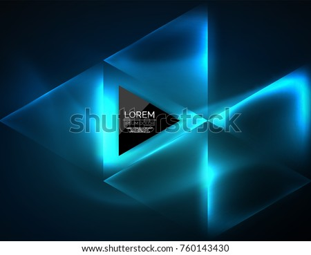Color neon glowing triangles, abstract background. Vector techno glowing space with triangles and your message. Hi-tech wallpaper