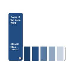 Color of the Year 2020, Classic Blue, trend colour palette sample swatch book guide, stock vector illustration clip art template isolated on white background with copy space