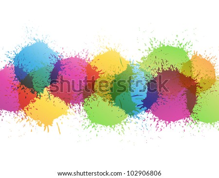 Color paint splashes - stock vector