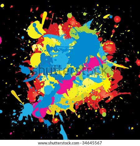 Color paint splashes background. Vector.
