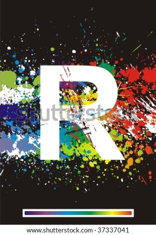 letter r in graffiti. Letter R.