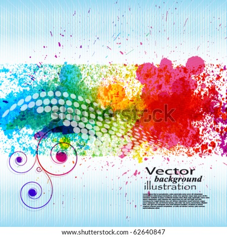 Color paint splashes. Gradient vector background on blue and white stripe background. EPS10