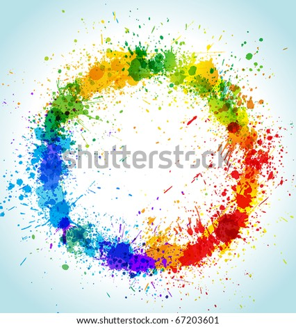 Color paint splashes round background. Gradient vector frame.
