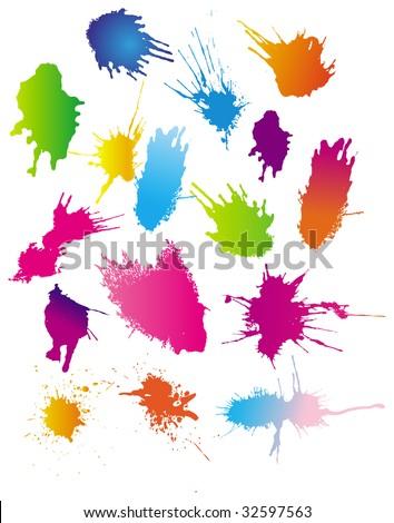 Color paint splashes. Vector