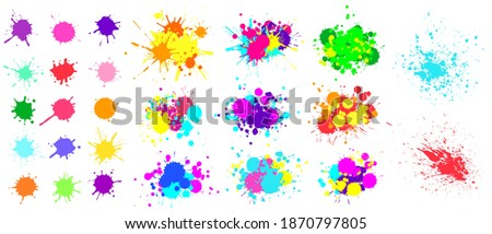 Color paint splatter. Spray paint blot element. Colorful ink stains mess. Watercolor spots in raw and paint splashes collection, liquid stains set isolated on white vector illustration