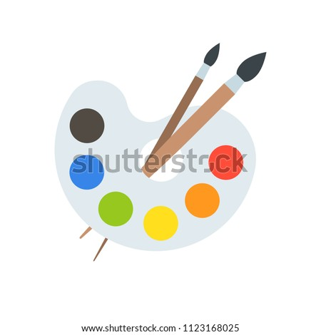 Color palette and paint brush, artist icon flat design
