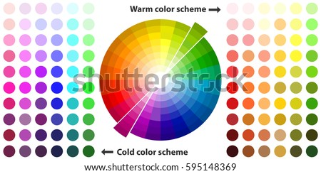 Color palette, color schemes, warm colors, cool colors, spectrum. Flat design, vector illustration, vector. Foto d'archivio ©