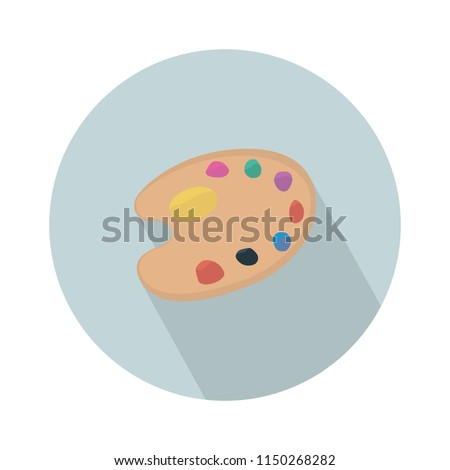 color palette drawing icon, Palette with paints and brush isolated on white background