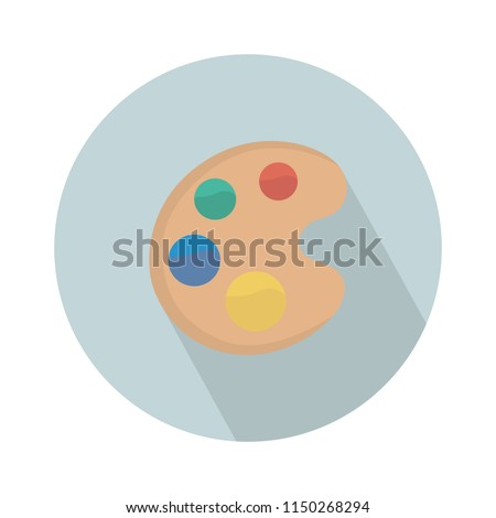 color palette watercolor icon, Palette with paints and brush isolated on white background