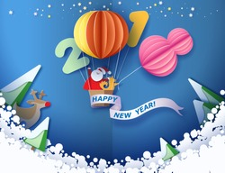 Color paper cut design and craft winter landscape with Santa Claus and dog traveling with air balloon moon and digit 2018. Holiday New year and Merry Christmas card. Vector illustration