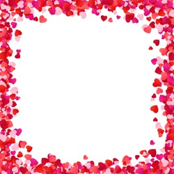 Color Paper Heart Frame Background. Heart Frame with space for Text. Romantic Scattered Hearts Texture. Love. Design for Valentine's Day or Weddings and Mother's Day. Vector illustration