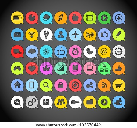 Color paper media icons in clouds