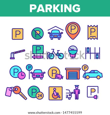 Color Parking Thin Line Icons Set Vector. Parking Service Sign And GPS Mark, Garage With Car And Bicycle, Key And Park Place Linear Pictograms. Illustrations