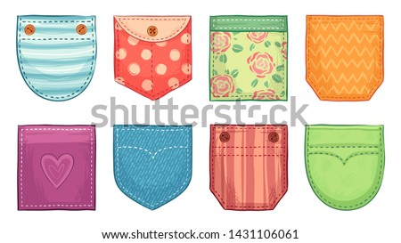 Color patch pockets. Comfort pocket patches with seam, denim patched pockets buttons and comfortable clothes accessories. Casual style woman shirt clothes pocket. Isolated icons vector set