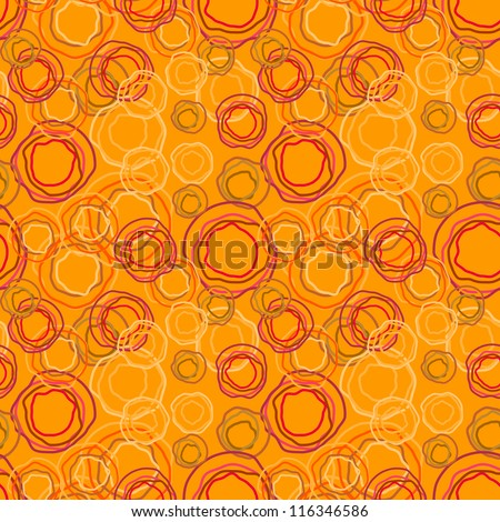 Color pattern of the rings on an orange background - vector seamless texture