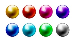 Color pearl balls set Isolated on white background 8 colors.