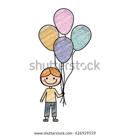 Color Pencil Drawing Of Caricature Of Smiling Kid With T Shirt And