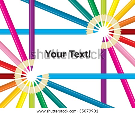 color pencil frame - stock vector