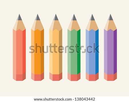 Color pencils isolated on beige background. Vector illustration