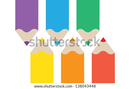 Color pencils isolated on white background. Vector illustration