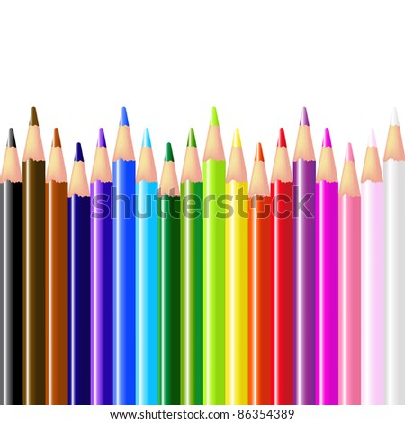 Color Pencils, Isolated On White Background, Vector Illustration