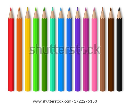 Color pencils on white background. Red, blue, green, yellow wooden pencil for school education. drawing collection for artwork. Realistic set pencils for draw in kindergarten. vector illustration