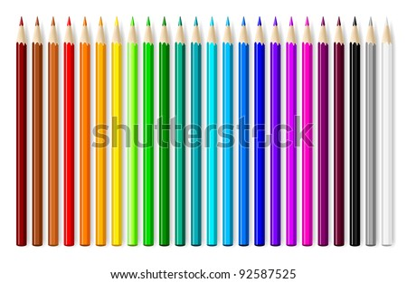 Color pencils set on white background.