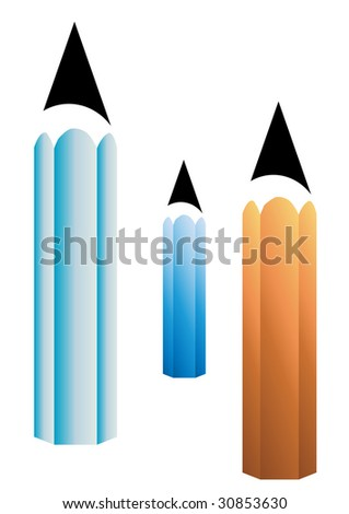 color pencils vector isolated on white