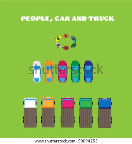 Color people, car and truck. Top view.