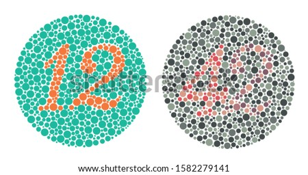 Color Perception Test Ishihara Plate No 12 and  No 42 Illustration - Vector