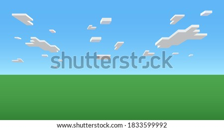 Color Pixel landscape in the style of the popular eight-bit online game. Pixelated white clouds in a blue sky above a green earth. Vector illustration
