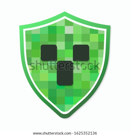 color pixel shield with a dark