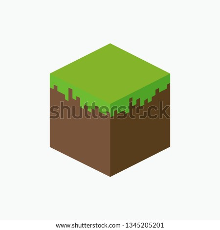 color pixel toy earth cube