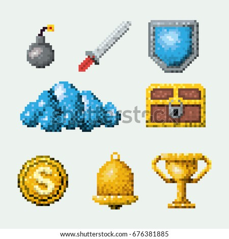 color pixelated set of elements arcade game vector illustration