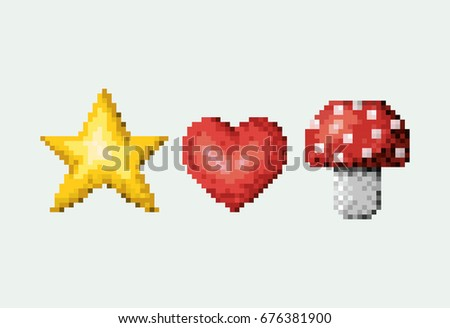 color pixelated set of star and heart with mushroom vector illustration