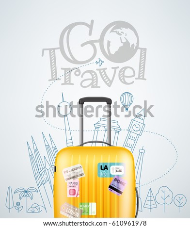 Color plastic travel bag with different travel elements vector illustration. Travel concept