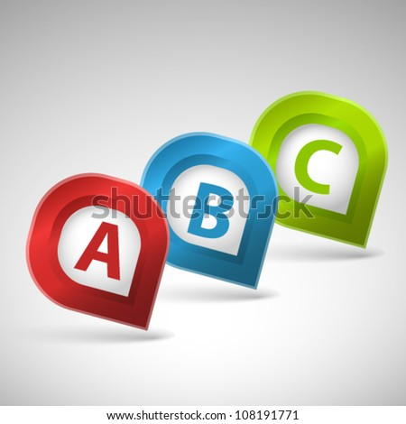 Color pointer with letters A, B and C - stock vector
