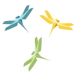 Color polygonal paper origami Dragonflies