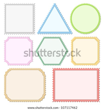 Color Postage Stamps, vector eps10 illustration