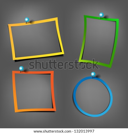 Color Postit frames on the black wall with Pushpin