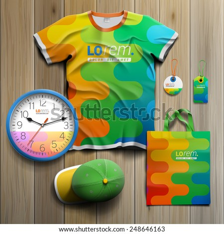 Color promotional souvenirs design for corporate identity with art wavy pattern. Stationery set