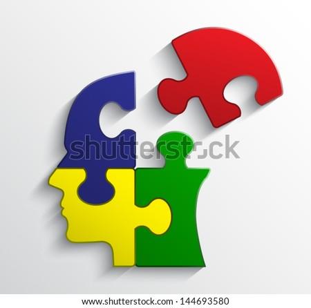 color puzzle head   vector