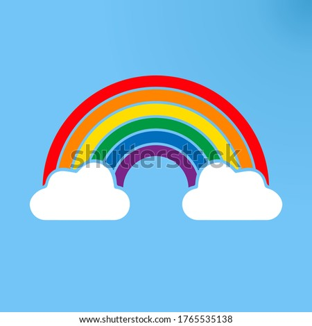 Color Rainbow sign with Clouds, with Gradient blu sky Mesh. Colorful symbol rainbow. Vector Illustration.