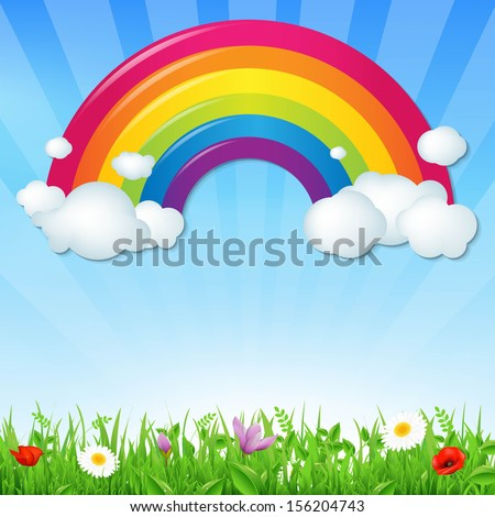 color rainbow with clouds grass
