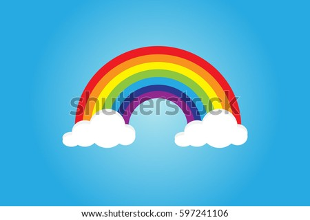 color rainbow with clouds  with