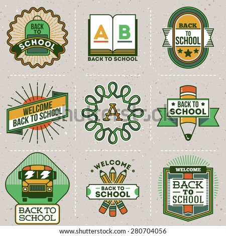 Color retro design insignias back to school logotypes set. Vector vintage elements. Cardboard texture. - stock vector