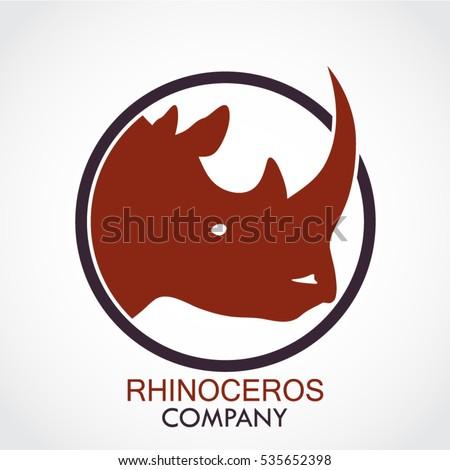 color rhinoceros head circle logo