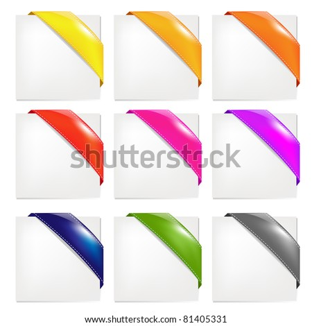 Color Ribbons Set, Isolated On White Background, Vector Illustration