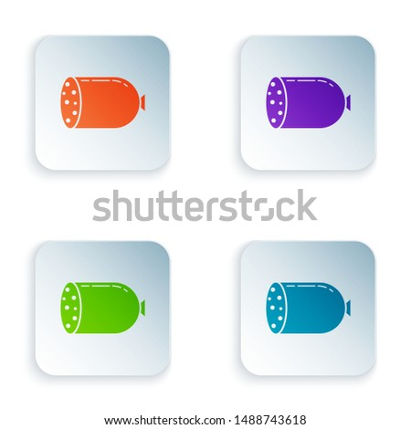 Color Salami sausage icon isolated on white background. Meat delicatessen product. Set icons in colorful square buttons. Vector Illustration